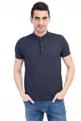 Erkek Giyim - Beyaz L Beden İtalyan Yaka Desenli Slim Fit Tişört