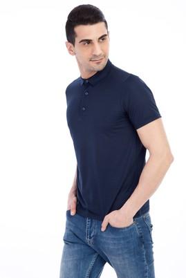 Erkek Giyim - KOYU MAVİ L Beden İtalyan Yaka Desenli Slim Fit Tişört