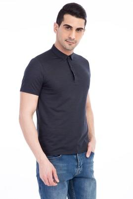 Erkek Giyim - VİZON M Beden İtalyan Yaka Desenli Slim Fit Tişört