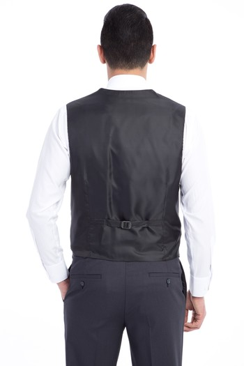 Erkek Giyim - Yelekli Desenli Takım Elbise