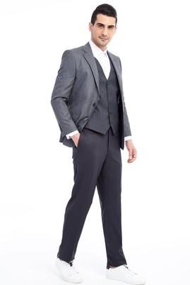 Erkek Giyim - Füme Gri 50 Beden Yelekli Desenli Takım Elbise