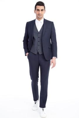 Erkek Giyim - Lacivert 44 Beden Slim Fit Yelekli Kuşgözü Takım Elbise