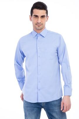 Erkek Giyim - Mavi 3X Beden Uzun Kol Klasik Desenli Gömlek