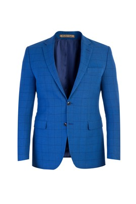 Erkek Giyim - Mavi 50 Beden Slim Fit İtalyan Kareli Ceket