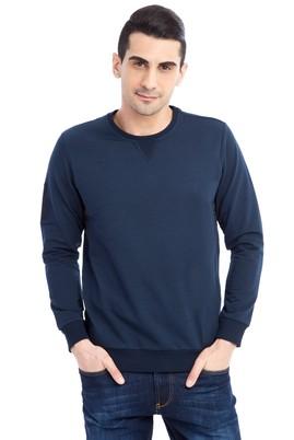 Erkek Giyim - Lacivert L Beden Bisiklet Yaka Slim Fit Sweatshirt