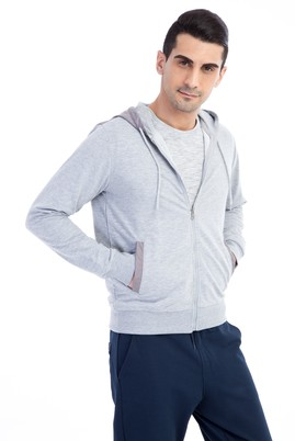 Erkek Giyim - Orta füme M Beden Kapüşonlu Slim Fit Sweatshirt