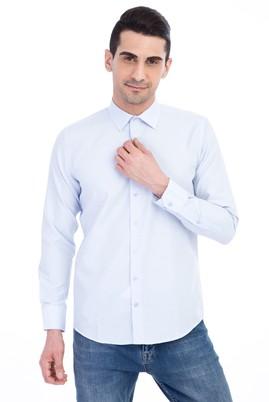 Erkek Giyim - Açık Mavi S Beden Uzun Kol Desenli Gömlek