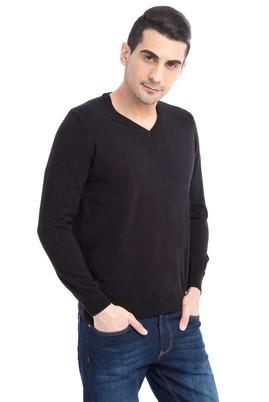 Erkek Giyim - Siyah XL Beden V Yaka Regular Fit Triko Kazak