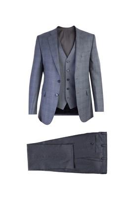 Erkek Giyim - Orta füme 52 Beden Yelekli Ekose Takım Elbise