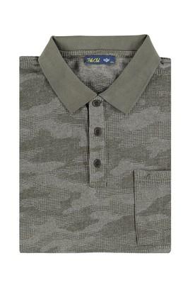 Erkek Giyim - KOYU YESİL 4X Beden King Size Polo Yaka Desenli Tişört