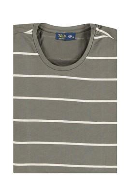 Erkek Giyim - HAKİ 3X Beden Bisiklet Yaka Çizgili Regular Fit Tişört