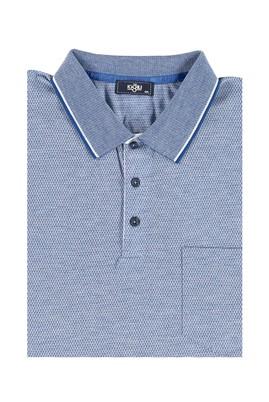 Erkek Giyim - Mavi 6X Beden King Size Polo Yaka Regular Fit Tişört