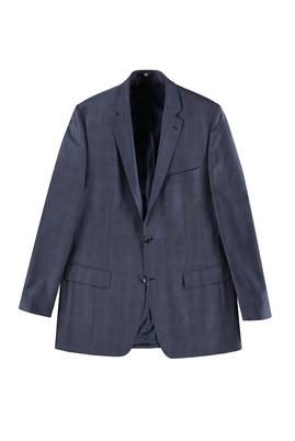 Erkek Giyim - KOYU MAVİ 60 Beden Regular Fit Yünlü Ekose Ceket