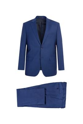 Erkek Giyim - KOYU MAVİ 52 Beden İtalyan Yünlü Ekose Takım Elbise