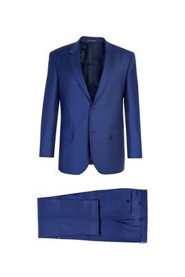 Erkek Giyim - Mavi 50 Beden Klasik Yünlü Takım Elbise