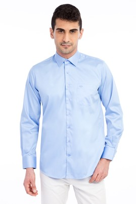 Erkek Giyim - Mavi M Beden Uzun Kol Klasik Saten Gömlek