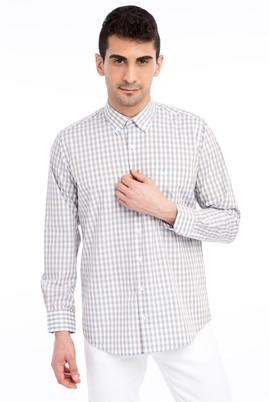 Erkek Giyim - Bej M Beden Uzun Kol Ekose Gömlek