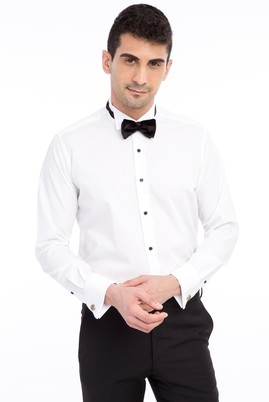 Erkek Giyim - Beyaz XL Beden Ata Yaka Slim Fit Bambu Gömlek