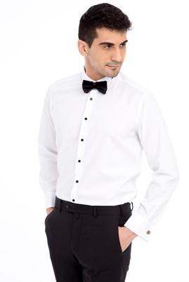 Erkek Giyim - Beyaz L Beden Ata Yaka Kolay Ütülenir Gömlek
