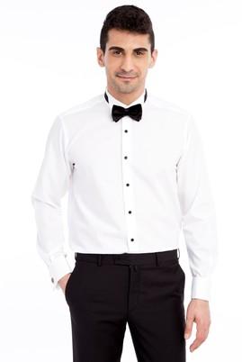 Erkek Giyim - Beyaz XXL Beden Ata Yaka Klasik Tencel Gömlek