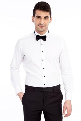 Erkek Giyim - Beyaz S Beden Ata Yaka Slim Fit Kolay Ütülenir Gömlek