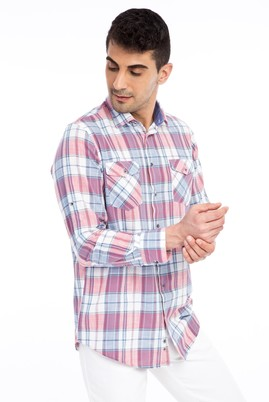Erkek Giyim - Kırmızı 3X Beden Uzun Kol Ekose Gömlek