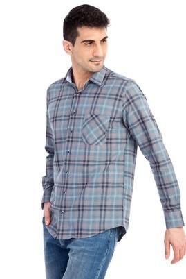Erkek Giyim - Petrol XL Beden Uzun Kol Ekose Gömlek
