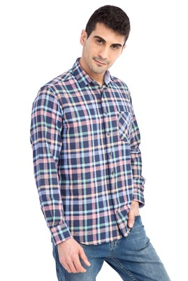Erkek Giyim - Lacivert XXL Beden Uzun Kol Ekose Gömlek