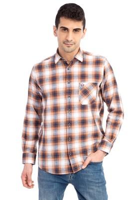 Erkek Giyim - Turuncu XL Beden Uzun Kol Ekose Gömlek