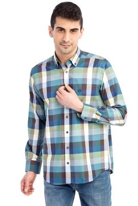 Erkek Giyim - Lacivert M Beden Uzun Kol Ekose Gömlek