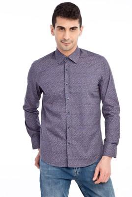 Erkek Giyim - Antrasit L Beden Uzun Kol Desenli Slim Fit Gömlek