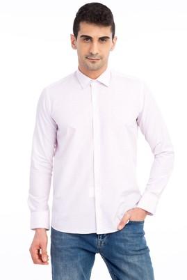 Erkek Giyim - Kırmızı M Beden Uzun Kol Desenli Slim Fit Gömlek