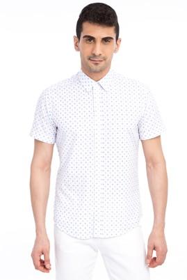 Erkek Giyim - Beyaz XL Beden Kısa Kol Baskılı Slim Fit Gömlek