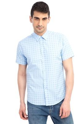 Erkek Giyim - Açık Mavi XL Beden Kısa Kol Baskılı Slim Fit Gömlek