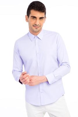 Erkek Giyim - Lila XS Beden Uzun Kol Slim Fit Gömlek