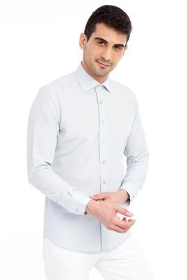 Erkek Giyim - Açık Gri L Beden Uzun Kol Desenli Slim Fit Gömlek