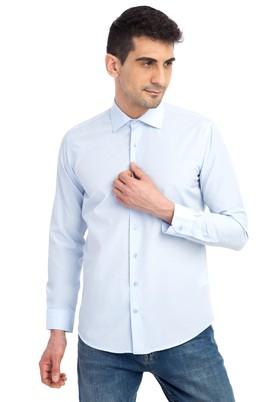 Erkek Giyim - Açık Mavi XS Beden Uzun Kol Desenli Slim Fit Gömlek
