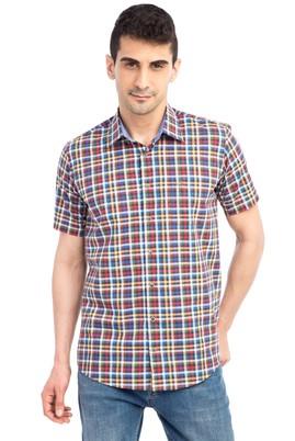 Erkek Giyim - Kırmızı L Beden Kısa Kol Ekose Gömlek