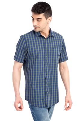 Erkek Giyim - Lacivert XL Beden Kısa Kol Regular Fit Ekose Gömlek
