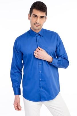 Erkek Giyim - Mavi 3X Beden Uzun Kol Klasik Saten Gömlek