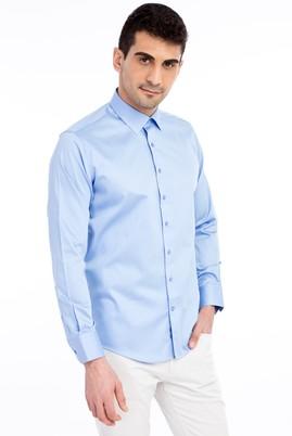 Erkek Giyim - Mavi S Beden Uzun Kol Saten Slim Fit Gömlek