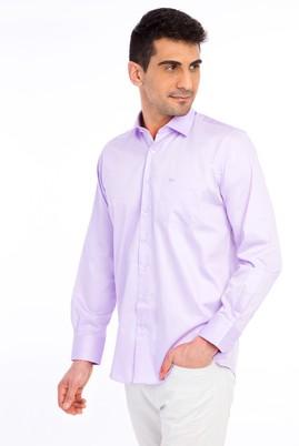 Erkek Giyim - Lila XL Beden Uzun Kol Klasik Saten Gömlek