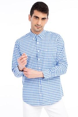 Erkek Giyim - Mavi L Beden Uzun Kol Ekose Gömlek
