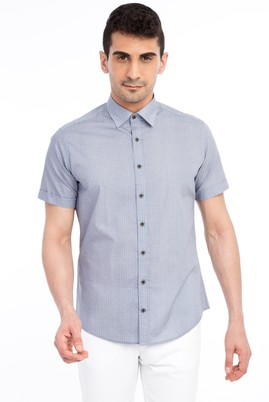 Erkek Giyim - Füme Gri L Beden Kısa Kol Baskılı Slim Fit Gömlek