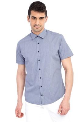 Erkek Giyim - Lacivert XL Beden Kısa Kol Baskılı Slim Fit Gömlek