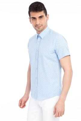 Erkek Giyim - Açık Mavi S Beden Kısa Kol Baskılı Slim Fit Gömlek
