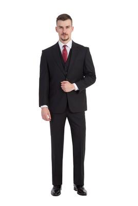 Erkek Giyim - Siyah 48 Beden Yelekli Ekose Takım Elbise