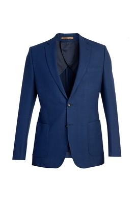 Erkek Giyim - Mavi 46 Beden İtalyan Yünlü Desenli Ceket