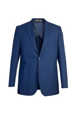 Erkek Giyim - Lacivert 56 Beden İtalyan Yünlü Desenli Ceket