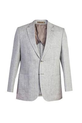 Erkek Giyim - Açık Gri 50 Beden İtalyan Ekose Keten Ceket